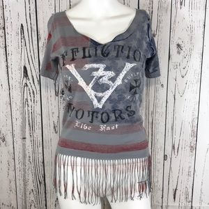 Affliction fringe top women's small